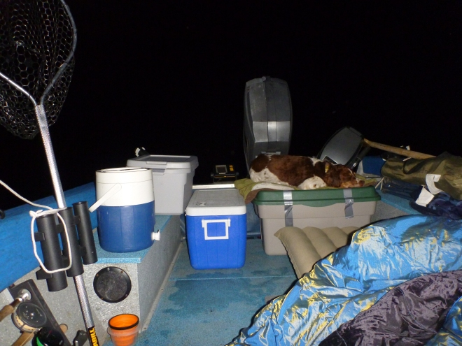 Camping in the boat for opening day. We sure took a lot of stuff.