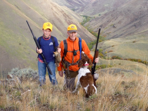 Our first chukar hunt together; I hogged that bird but wanted him to hold it